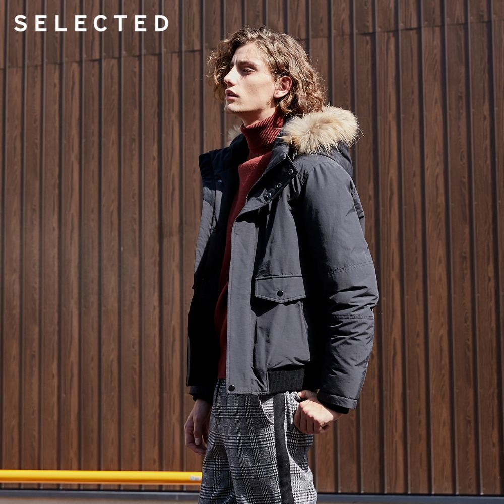 SELECTED Men's Short Down Jacket Winter Raccoon Fur Collar Down Coat Short Warm Male Clothes S | 418412538