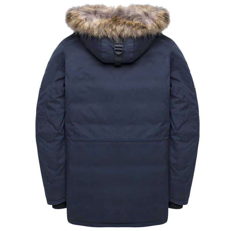 타이거 포스 겨울 자켓 남자 패딩 파카 러시아 남자 겨울 코트 인공 모피 큰 주머니 중간 길이 두꺼운 파카 Snowjacket