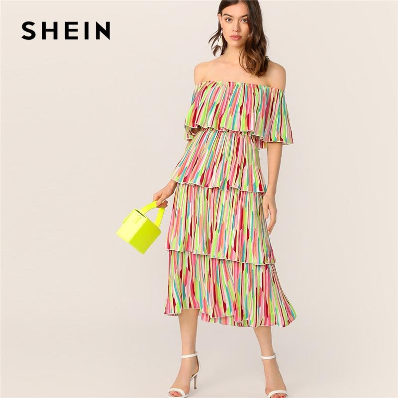 Шеин Boho с открытыми плечами слоистых рюшами отделкой красочный полосатый летнее платье для женщин Fit and Flare Элегантный вечерние длинные плат...