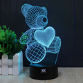 HY Bear's Love 3D Remote LED Night Light Touch Table Desk Lamp 7 Color Change USB LED Charger Gift Multifunction Card