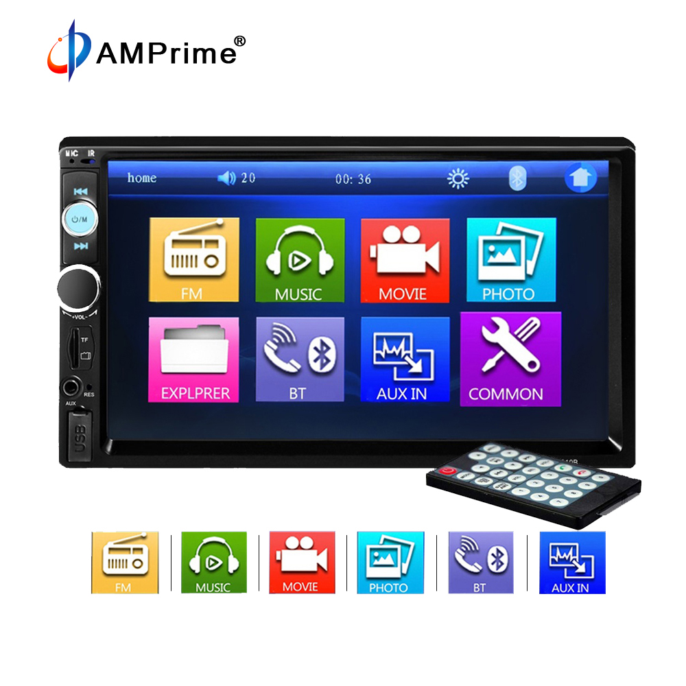 """AMPrime 2 Din Car Radio 7"""" Touch Screen Car Audio Stereo"""