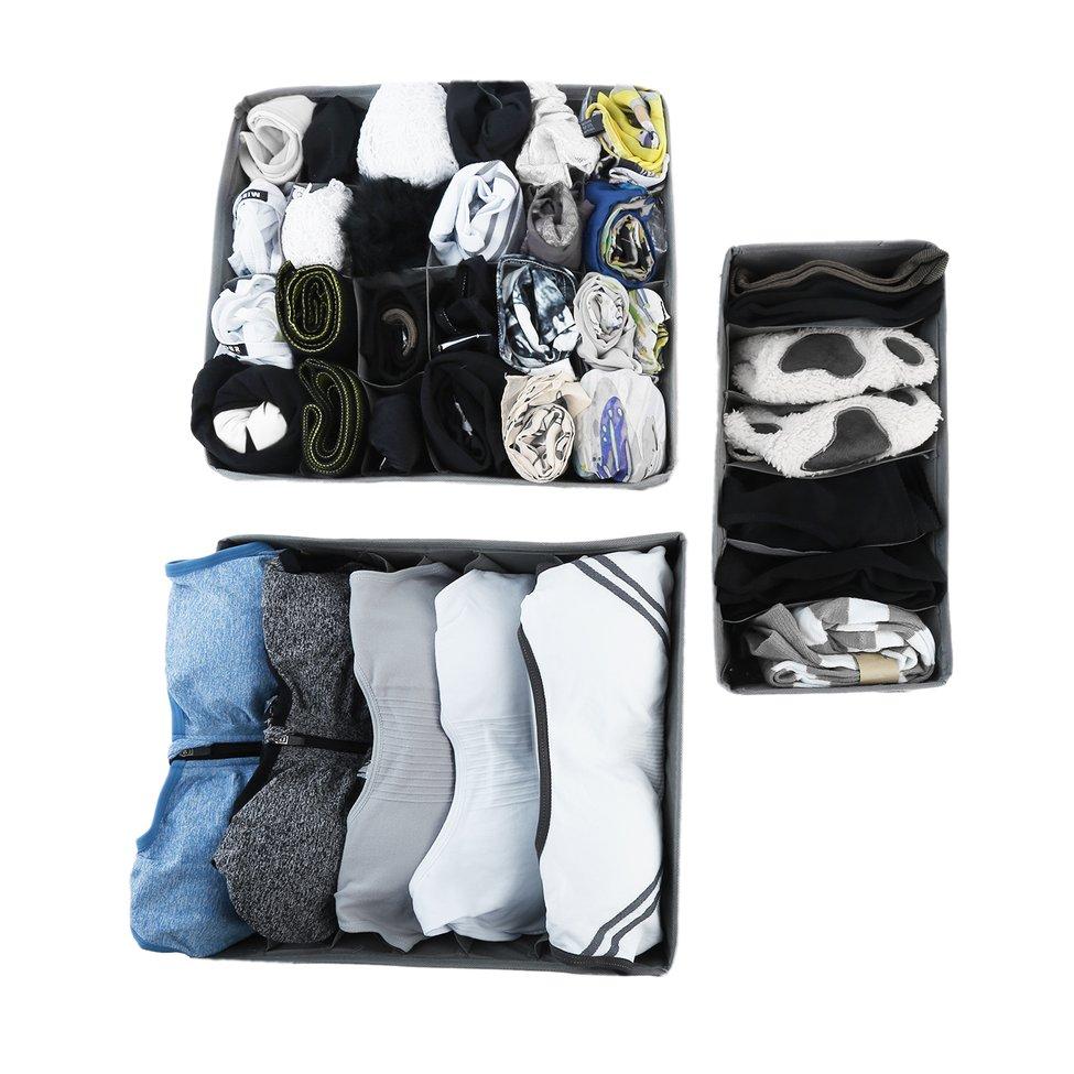 2*3 pcs Sous Vêtements Soutien Gorge Chaussettes Cravates Séparation Placard Boîte De Stockage De Conteneurs Organisateur Ensemble dans Boîtes De Rangement de Maison & Jardin