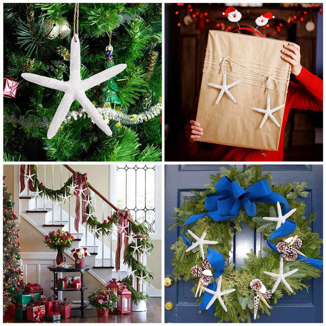 ourwarm 20pcs resin starfish christmas tree decorations hanging ornaments for home five finger beach coastal party supplies - Coastal Christmas Decorations For Sale