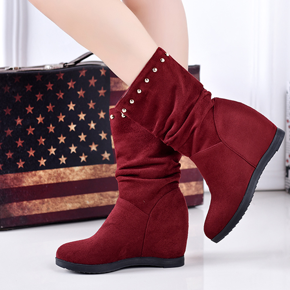 YOUGOLUN Women Ankle Boots 2017 New Autumn Winter Wedges Heel 6 cm Rivets Round toe High Wedge Heels Black Wine Red Shoes #Y-149