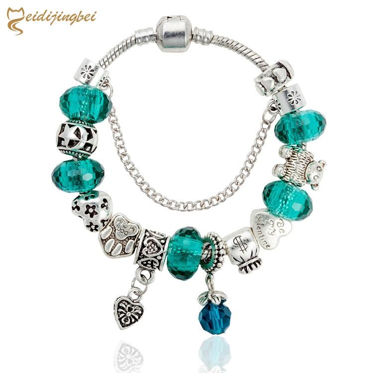 MEIDIJINGBEI Retro love pendant noble dark green transfer beads handmade bracelet DIY bear's pawls large hole beaded bracelet
