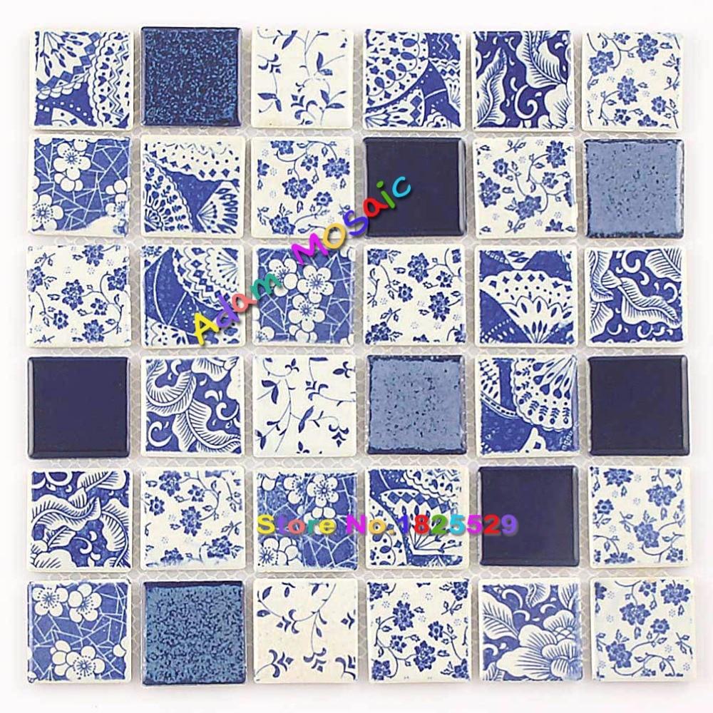 Blue white ceramic tile kitchen backsplash mosaic wall - White ceramic wall tiles bathroom ...