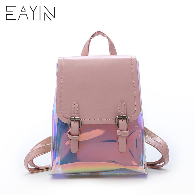 56482312faf8 EAYIN Fashion Travel Back Bags Laser Backpack Women Girls Bag PU Leather  Holographic Backpack School Bags for Teenage Girls 2018