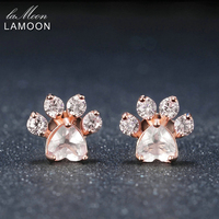 LAMOON Медвежья Лапа натуральный розовый кварц серьги стержня 925-стерлингового серебра-S925 Gemstone Fine Jewelry для Для женщин свадебные EI040-2