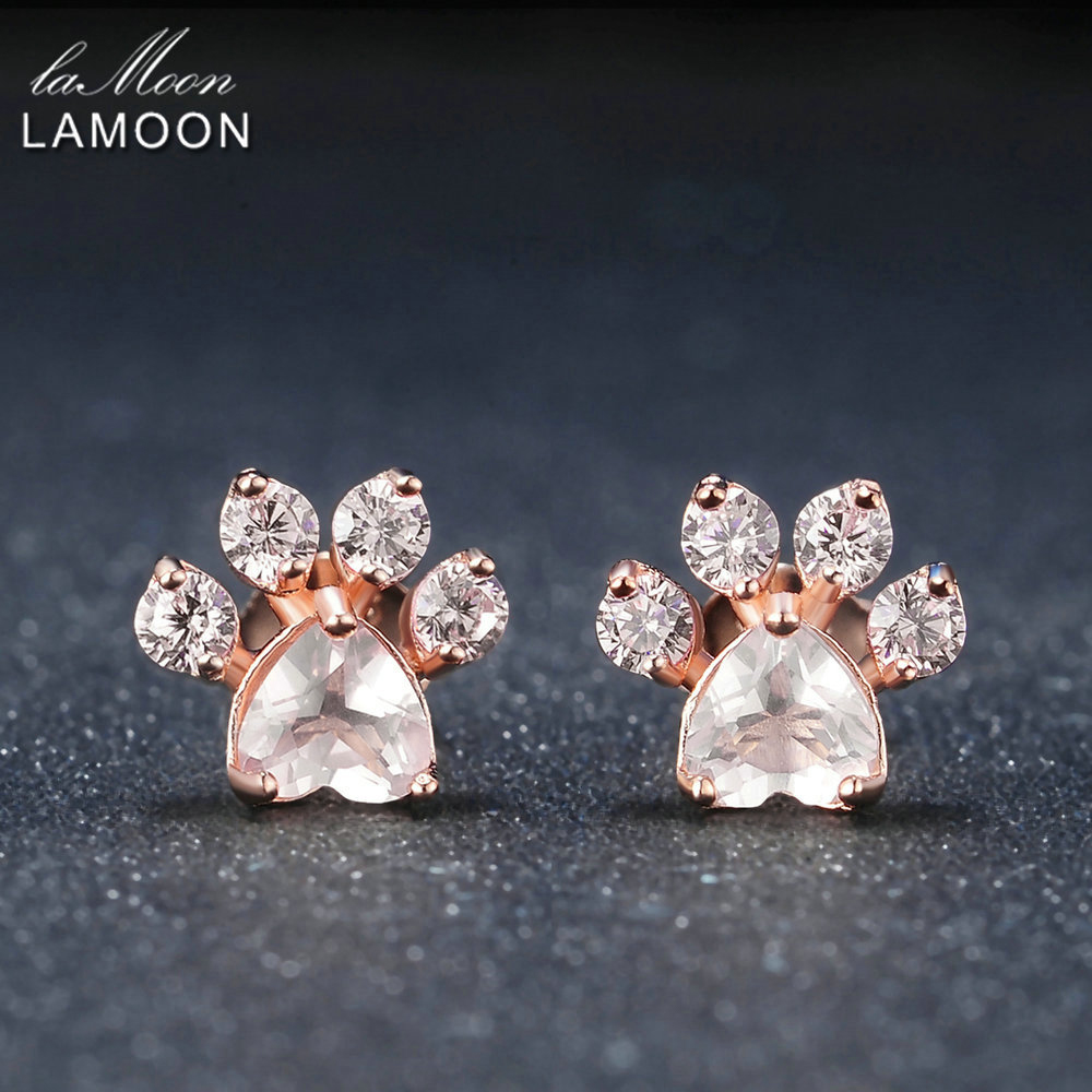 LAMOON Bear's Paw Natural Rose Quartz Stud Earrings 925-Sterling-Silver S925 Gemstone Fine Jewelry for Women Wedding EI040-2