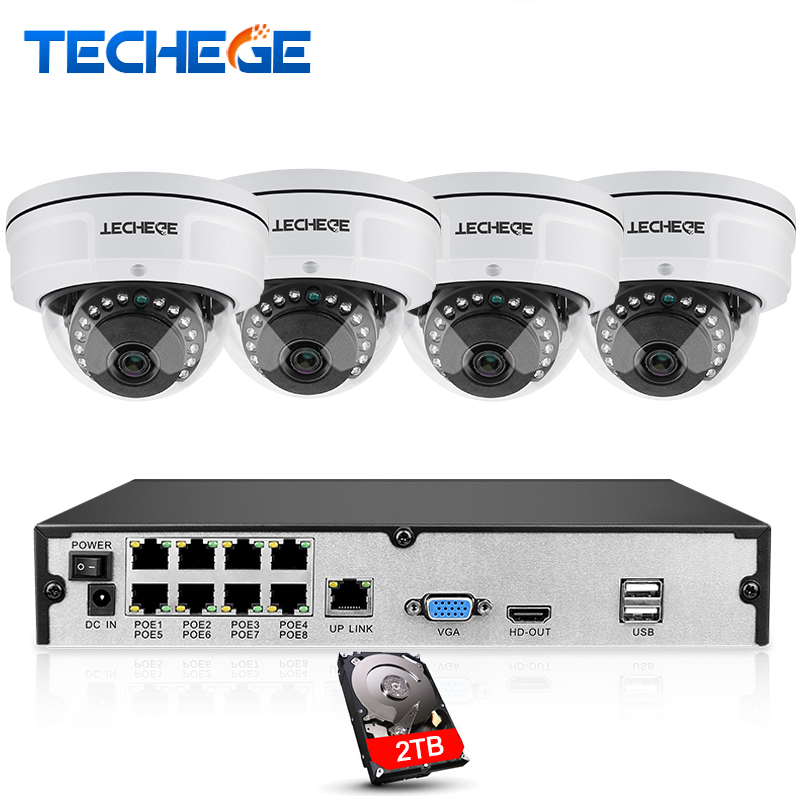 Techege 8CH NVR 48V POE 1080P CCTV System 2MP HD Network Camera Weatherproof Vandalproof Motion Detection
