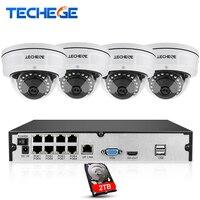 Techege Système 8CH NVR 48 V POE 1080 P CCTV 2MP HD Caméra Réseau Étanche Anti-Vandalisme Sécurité de Détection de Mouvement Caméra système