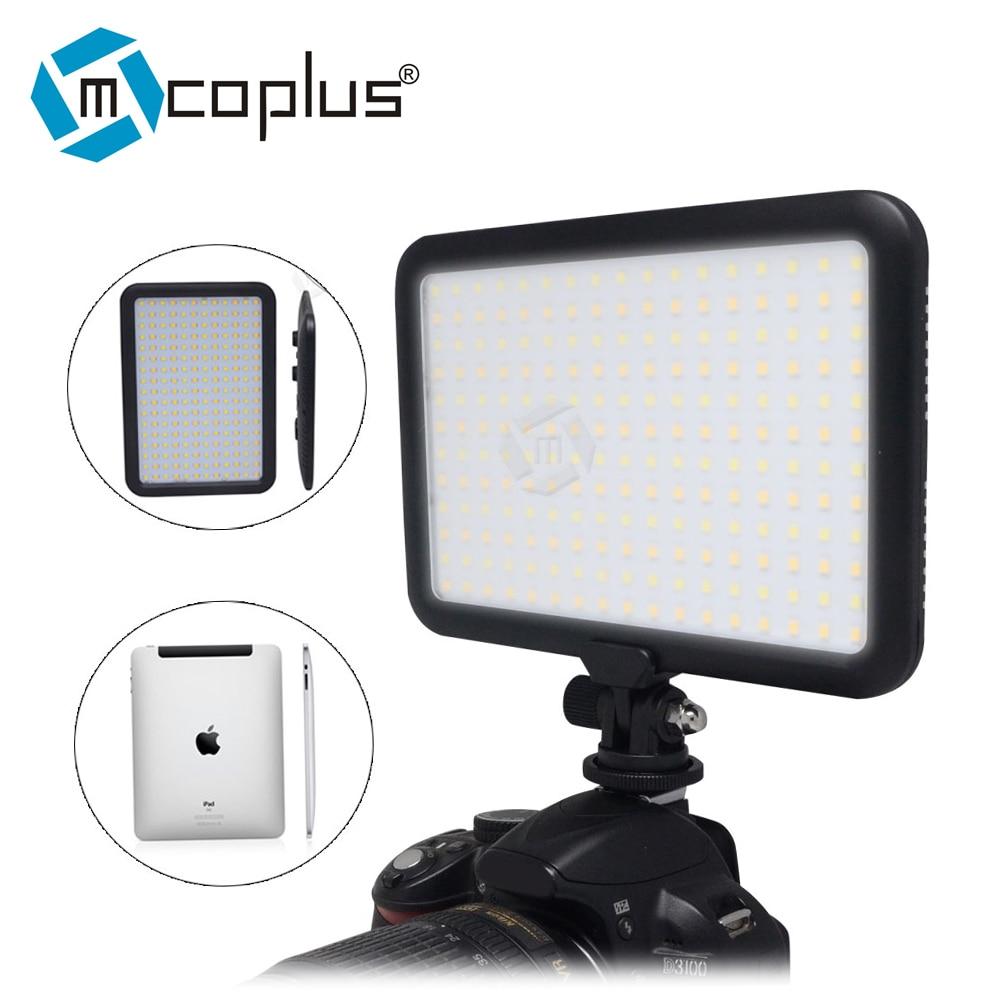 Mcopus 울트라 얇은 LED 비디오 라이트 TTV - 204 캐논 니콘 DSLR 카메라에 대한 더블 컬러 온도