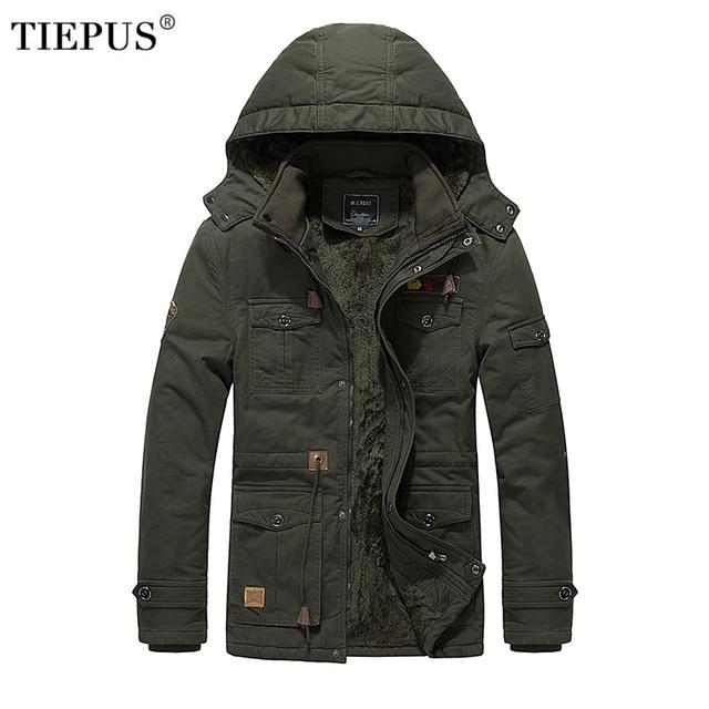 Flash Sale TIEPUS brand winter jacket men's plus velvet warm hooded tooling wind wash tactical jacket men's coat plus size L~3XL 4XL