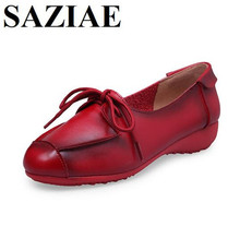 Sizzling Sale Footwear Lady 2016 Real Leather-based Girls Footwear Flats Heels Moms Loafers Lace-up Girls's Flat Footwear Lazy Vogue Footwear