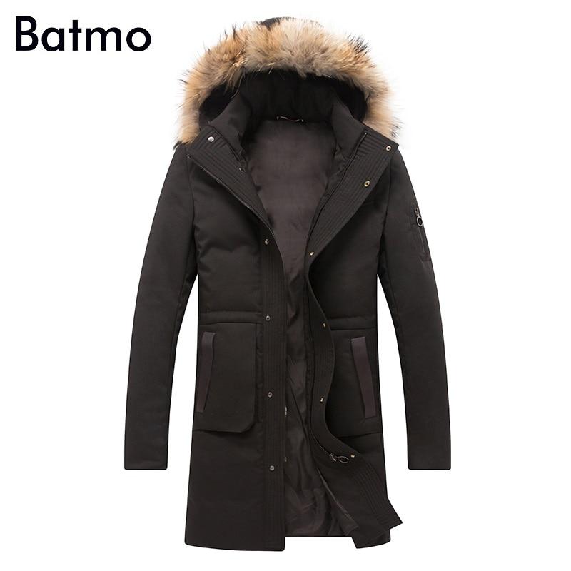 Batmo 2017 new arrival winter high quality white duck down long jacket men,winter mens coat ,plus-size M,L,XL,XXL,XXXL 8019