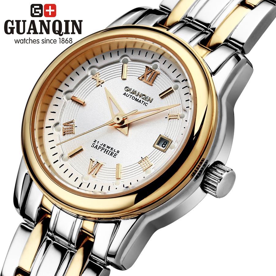 ФОТО Fashion Watch Women GUANQIN Watch Woman Sapphire Crystal Classic Waterproof Calendar Mechanical Watch Women Ladies Wristwatches