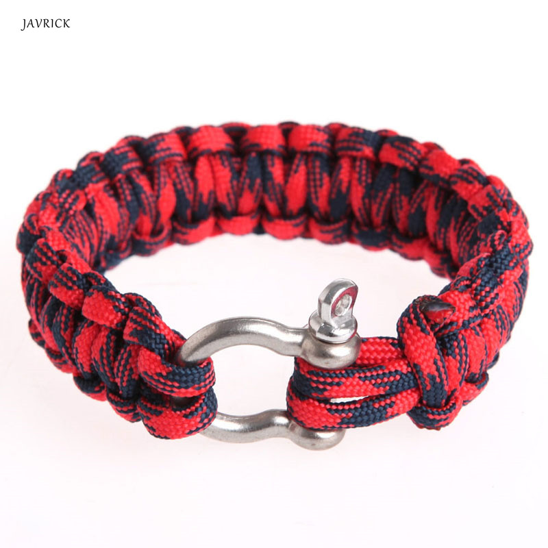 Survival Bracelet Para Outdoor Cord Black Rope Camping Steel Shackle Buckle XJ