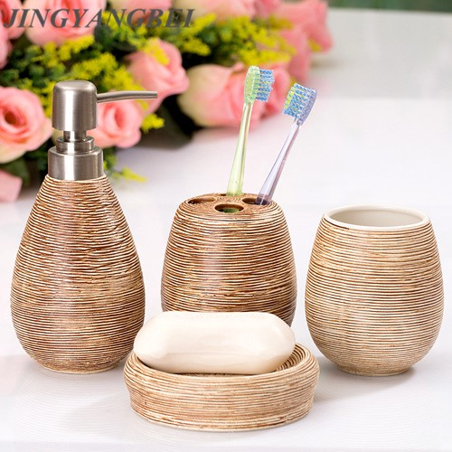Ceramic wood grains soap dispenser soap box of hand washing liquid bottle Four piece set bathroom accessories
