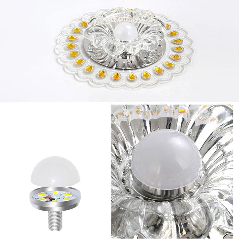 20 см Кристалл светодиодный светильник ing гостиная Павлин Потолочная люстра лампа потолочный светильник Husehold светильник питания - Цвет корпуса: Warm White