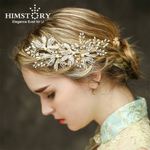 Хрустальный свадебный головной убор с золотым листом для невесты