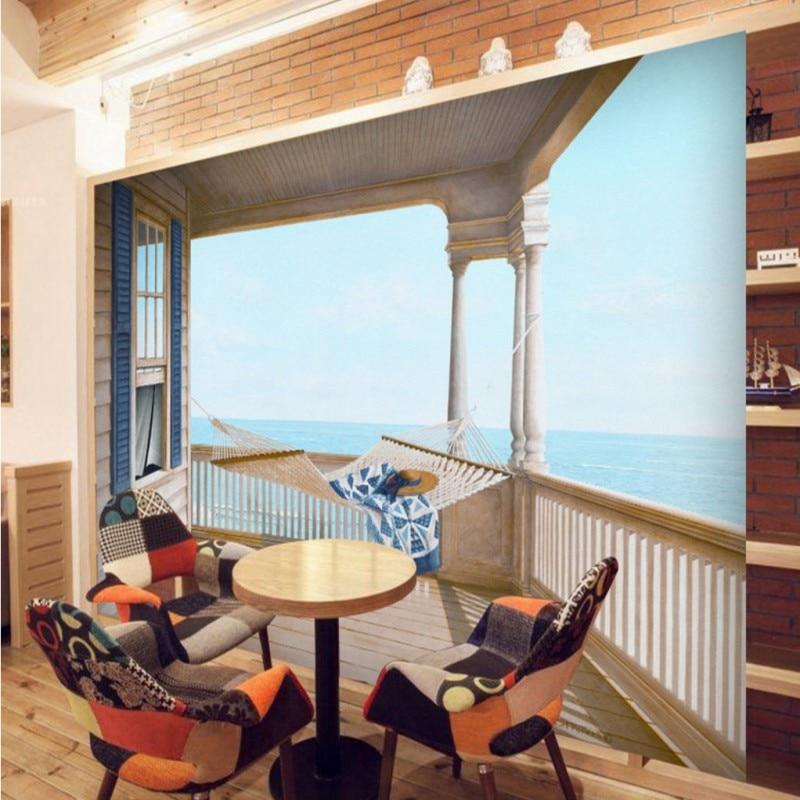 Hangmat Voor Op Balkon.Custom Muurschildering Zee Balkon Hangmat Muurschildering Woonkamer