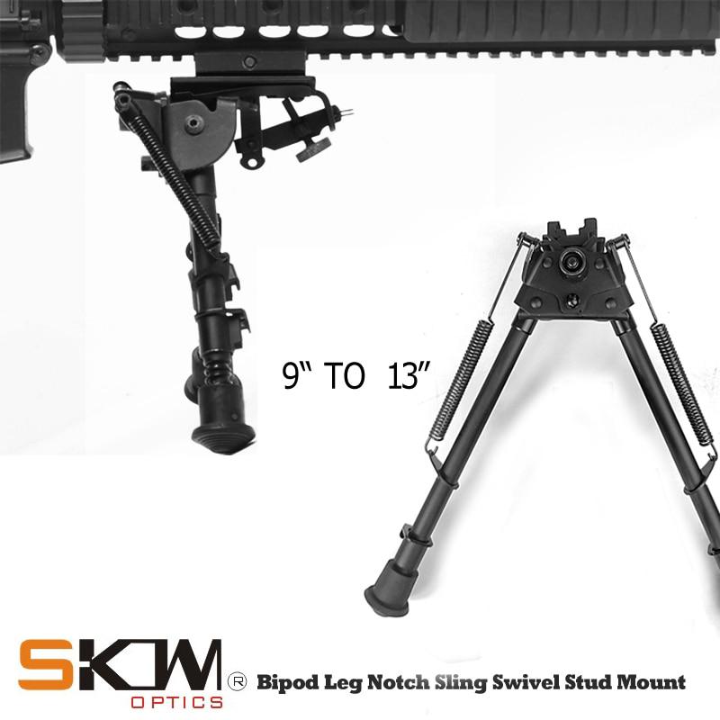 SKWgear sniper Bipied Jambe Cran Sling Swivel Stud Montage 9-13 pouces Noir Montage Picatinny rail harris bipied journal pour fusil