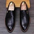 Только настоящая любовь Новый мужчины острым носом oxfords обувь узелок аллигатор натуральная кожа бизнес платье свадебные туфли размер38-43 Yjn231