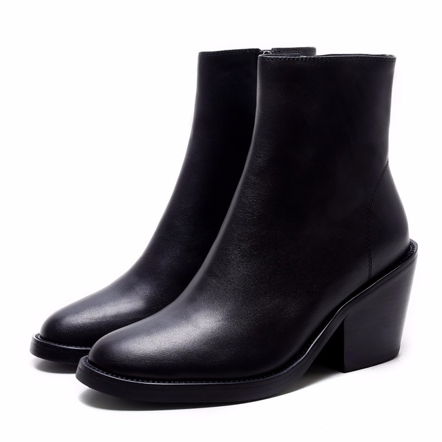 Krazing Pot classic vintage genuine leather square high heels solid round toe women keep warm Hollywood star mid-calf boots L7a