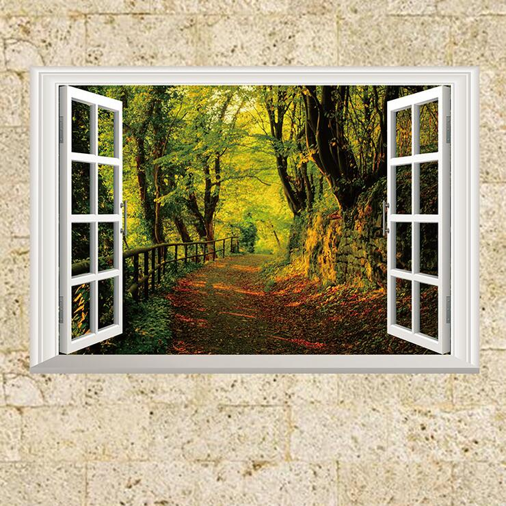 3d Wallpaper For Living Room In India 3d Fake Window Forest Scene Wall Sticker For Kids Rooms