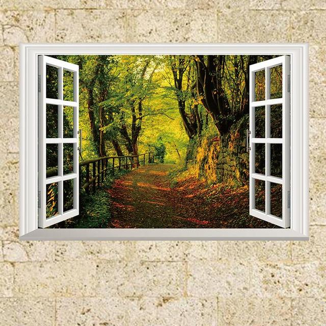 3D Fake Window Forest Scene Wall Sticker for Kids Rooms