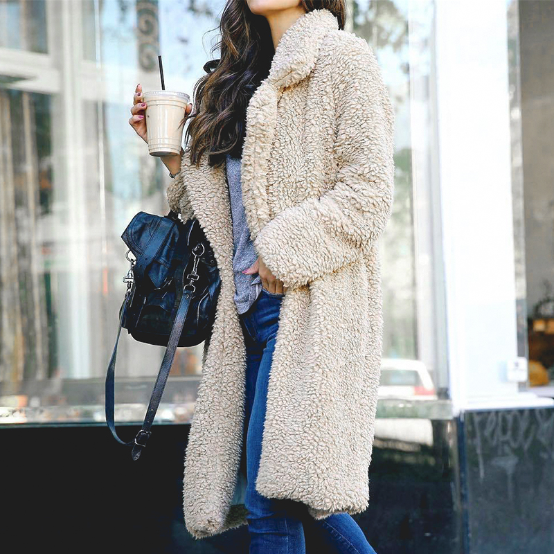 Conmoto Women Winter Suede Jacket 19 Fashion Teddy Bear Caramel Long Coat Female Long Sleeve Faux Fur Coat Fluffy Outerwear 6