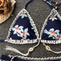 Women Padded Bra Swim Suit Beach crochet bikini Set 3