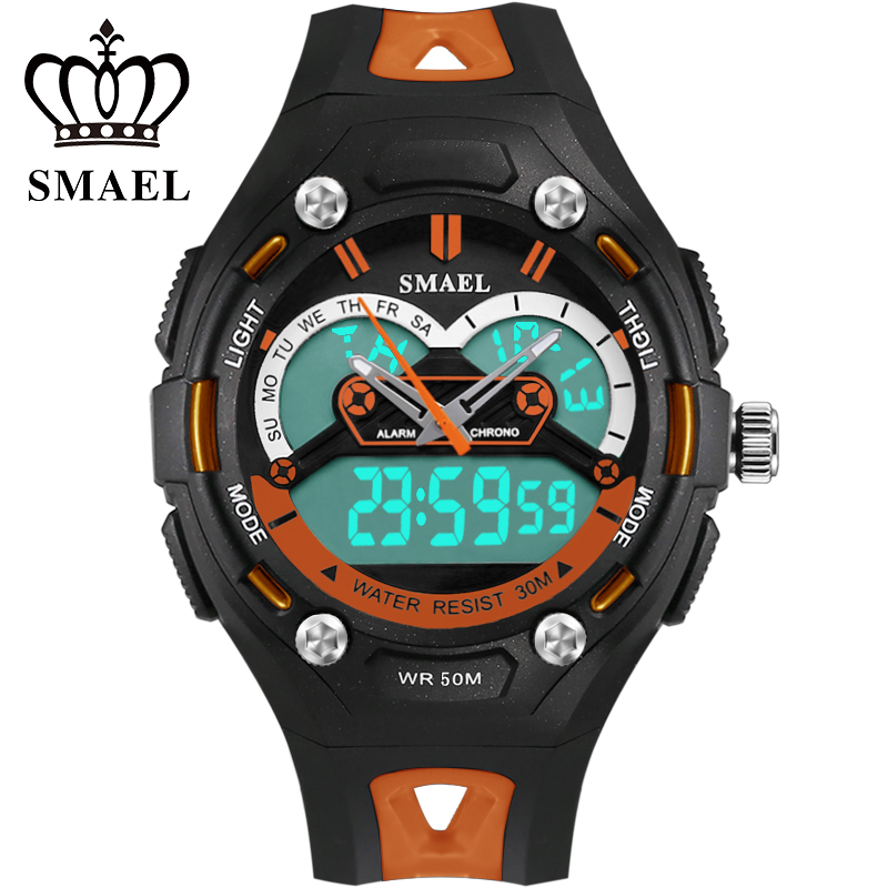 SMAEL Brand Children Sport Watch Dual Time Wristwatch LED Clock Quartz Fashion Casual Boy Sports Watch