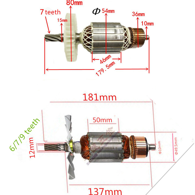 AC 220-240 v 6/7/9 dents Armature Remplacement Du Moteur pour MAKITA 5900B 5900BR 516514- 4 516513-6 Scie Circulaire Rotor