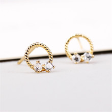 Stud Earrings Crystal 925 Silver For Women Double Round Geometric Earring Fashion Jewelry