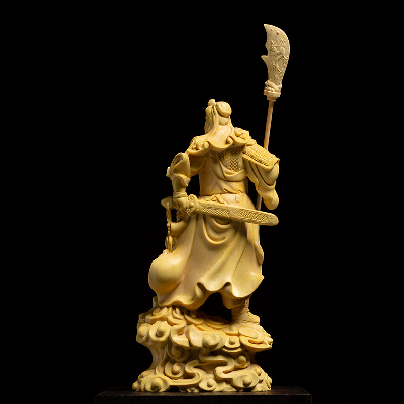 Solid Wooden Guan Yu Lucky Fortune Statue 2