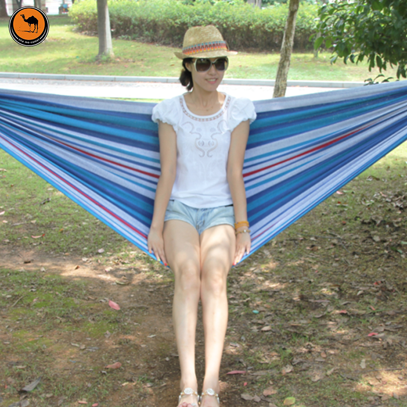 Portable Camping Hammock 200*100cm,Sky Blue and Green Striped Canvas Hammocks Outdoor Camping Garden Beach Travel