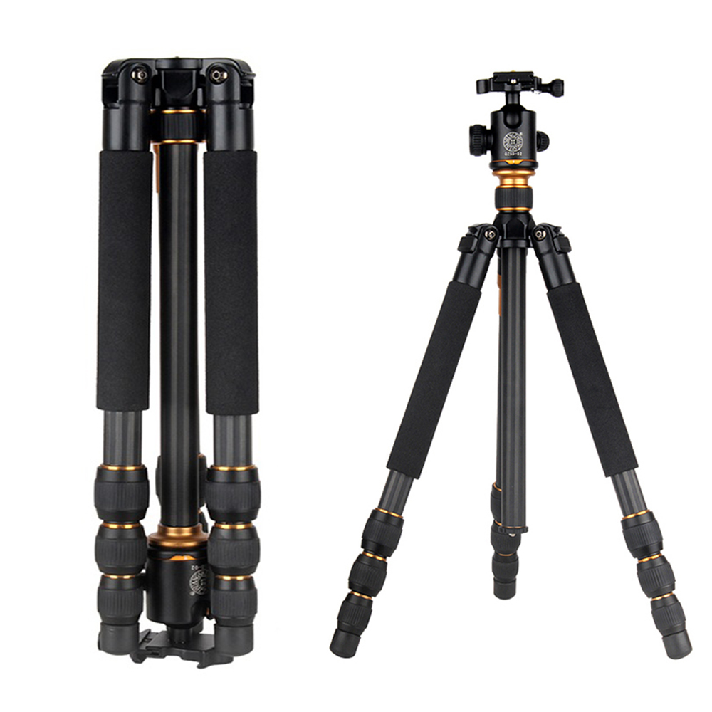 QZSD Q475 Professional Portable Aluminum Alloy Tripod Monopod With Ballhead For Travel Canon Nikon Camera Accessories Tripodes free shipping 10pcs fs6322 08