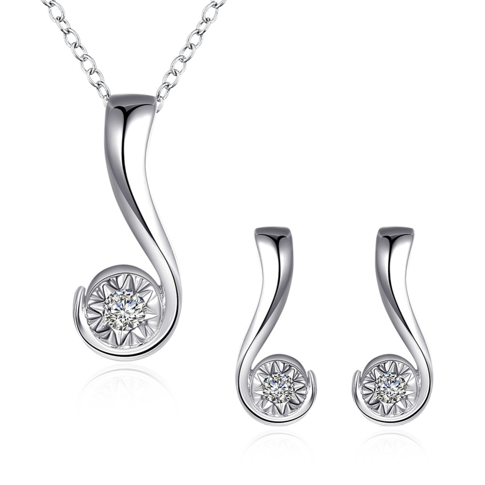 2017 Hot Sales Womens Silver Jewelry Set with Zircon Question Mark Shape Pendant Necklace & Earrings Drop ship ANGELTEARS