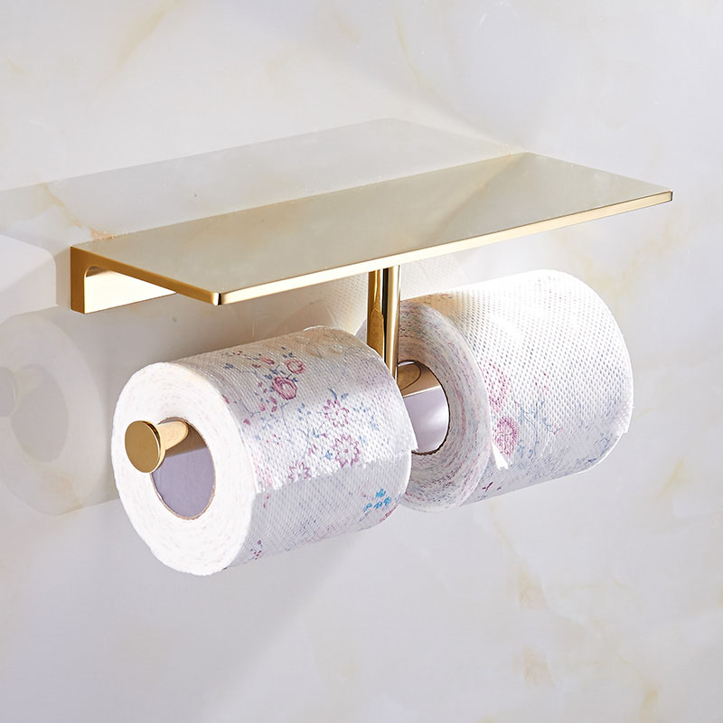 Top Quality Wall Mounted Double Roll Paper Tissue Holder Br Bathroom Towel Shelf Mobile Tack In Holders From Home Improvement On