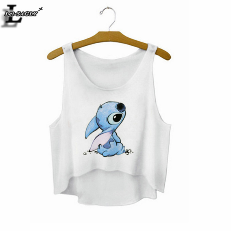 Lei-SAGLYStitch Cartoon Crop Top Summer Style Tank Top Sexy Fitness Women Tops Cheap Clothes China Cropped Fashion Camisole F727