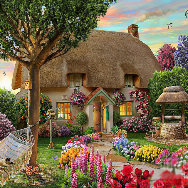 Diamond painting Dream Cottage Diy Drawing crafts Needlework square drill diamond Mosaic pasted embroidery