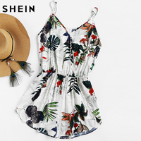 SHEIN Womens Shorts Rompers Ladies Vacation V Neck Sleeveless High Waist Jumpsuit Tropical Print Surplice Tulip