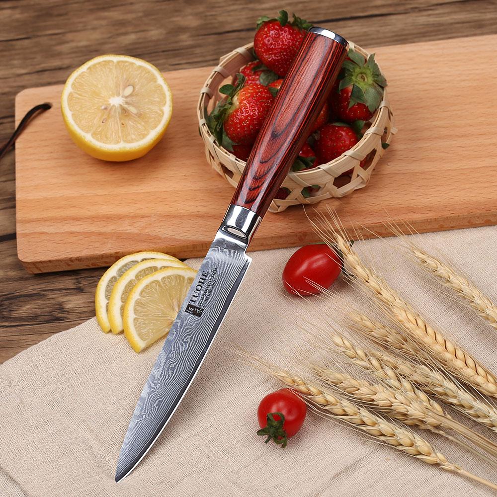 """TUOHE 5 """"messer 5 zoll universalmesser Japanischen damaststahl küchenmesser profi koch messer schälmesser pakkaholz griff-in Küchenmesser aus Heim und Garten bei  Gruppe 1"""