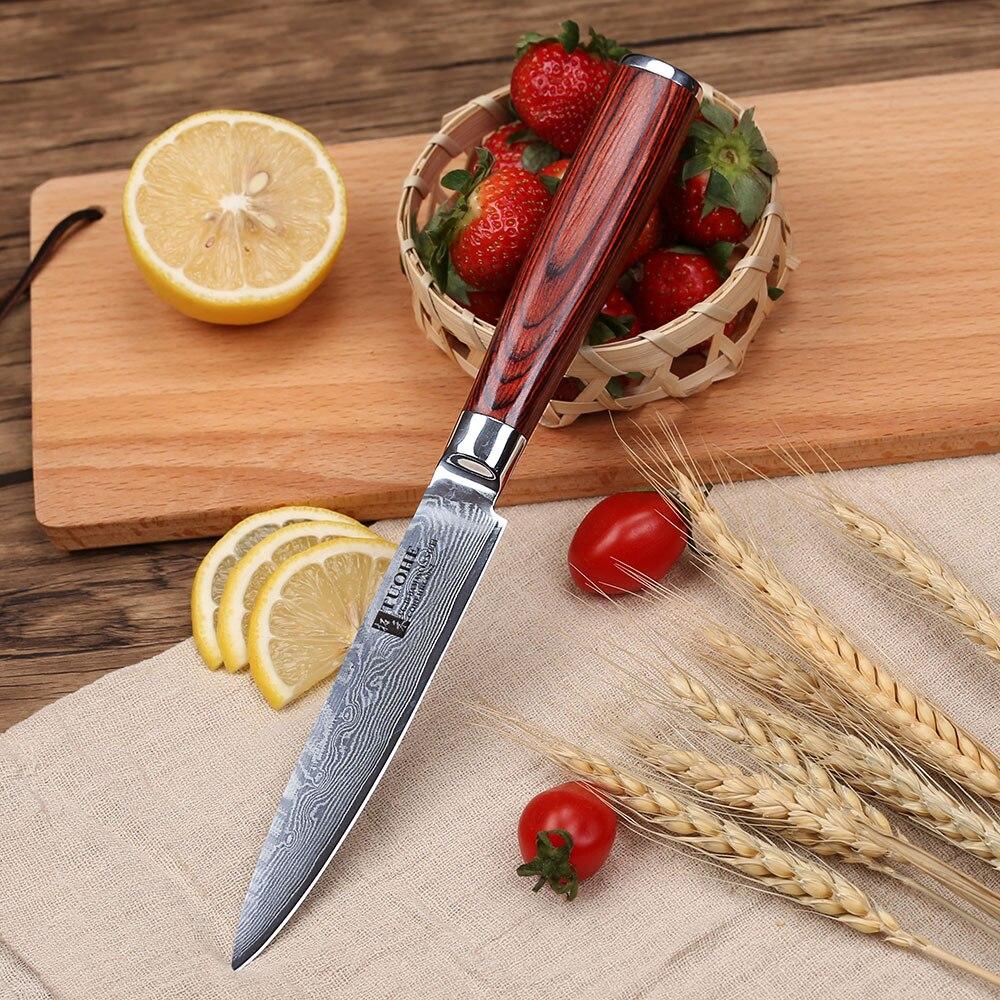 "Tuohe 5 ""인치 유틸리티 나이프 다마스커스 스틸 주방 나이프 전문 요리사 나이프 파링 나이프 pakka wood handle-에서주방 칼부터 홈 & 가든 의  그룹 1"