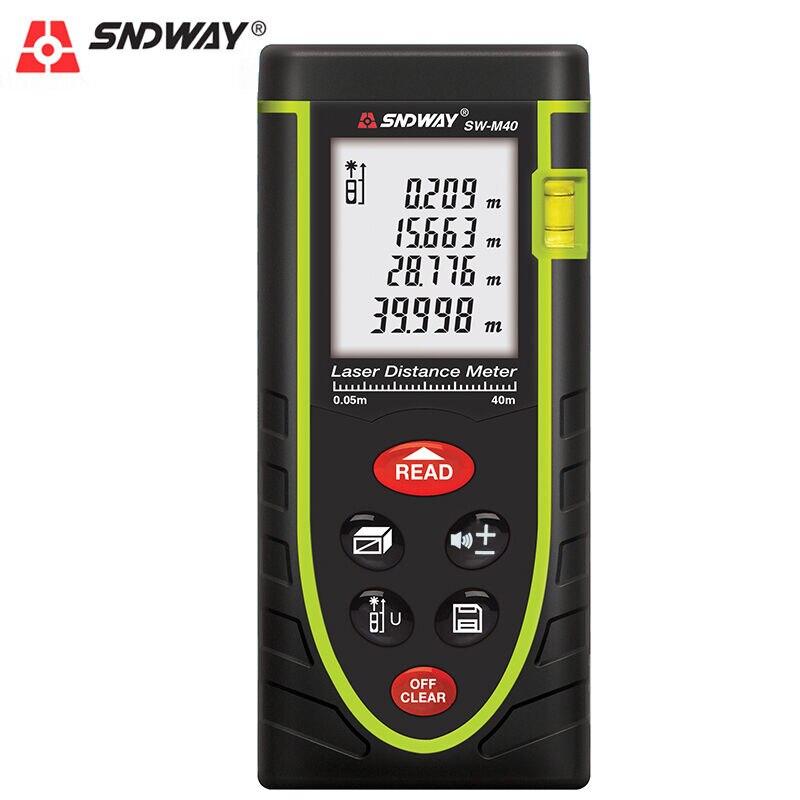SNDWAY 40 metros láser medidor de distancia telémetro láser área Infrarroja-volumen-ángulo cinta medida rango buscador herramienta LCD pantalla