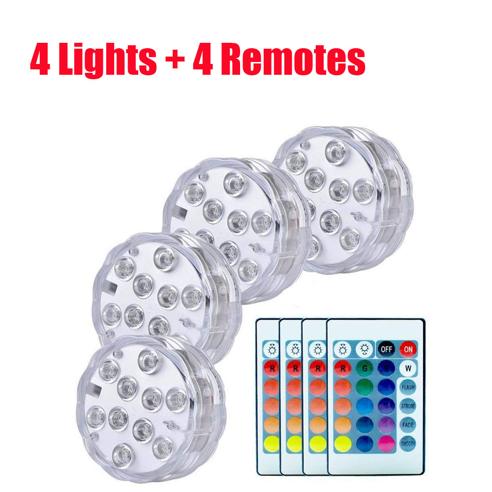 4 Pcs/lot Submersible Led Light Battery Operated Spot Lights Decorative Fish Bowl Underwater Swimming Pool Lamps For Aquarium
