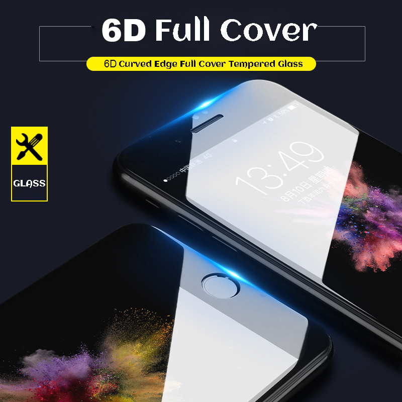 6D Full Cover Tempered Glass For iPhone 6 glass 6s 7 8 Plus X XR XS MAX Screen Protector iphone 7 glass Curved Edge Protection