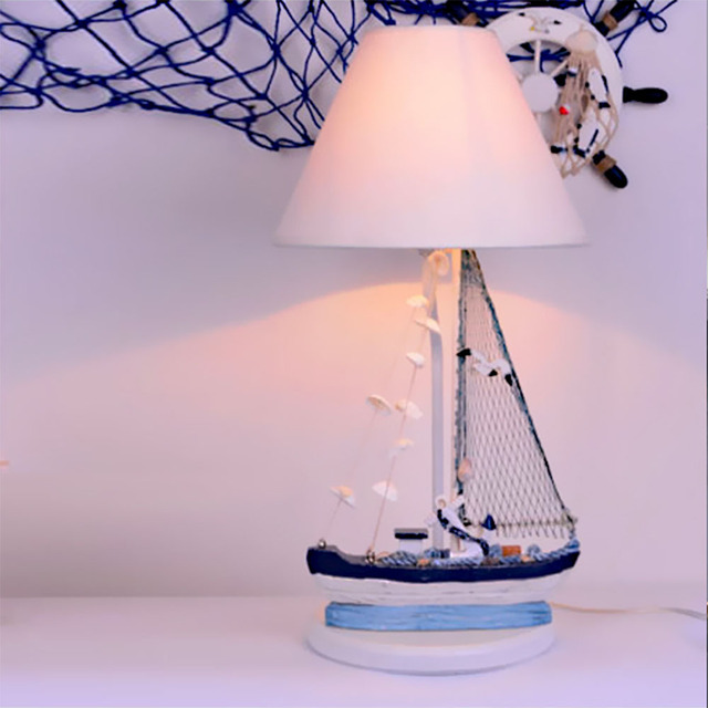 Childrens room desk lamp personality mediterranean led table lamp cartoon boy bedroom art bedside table light