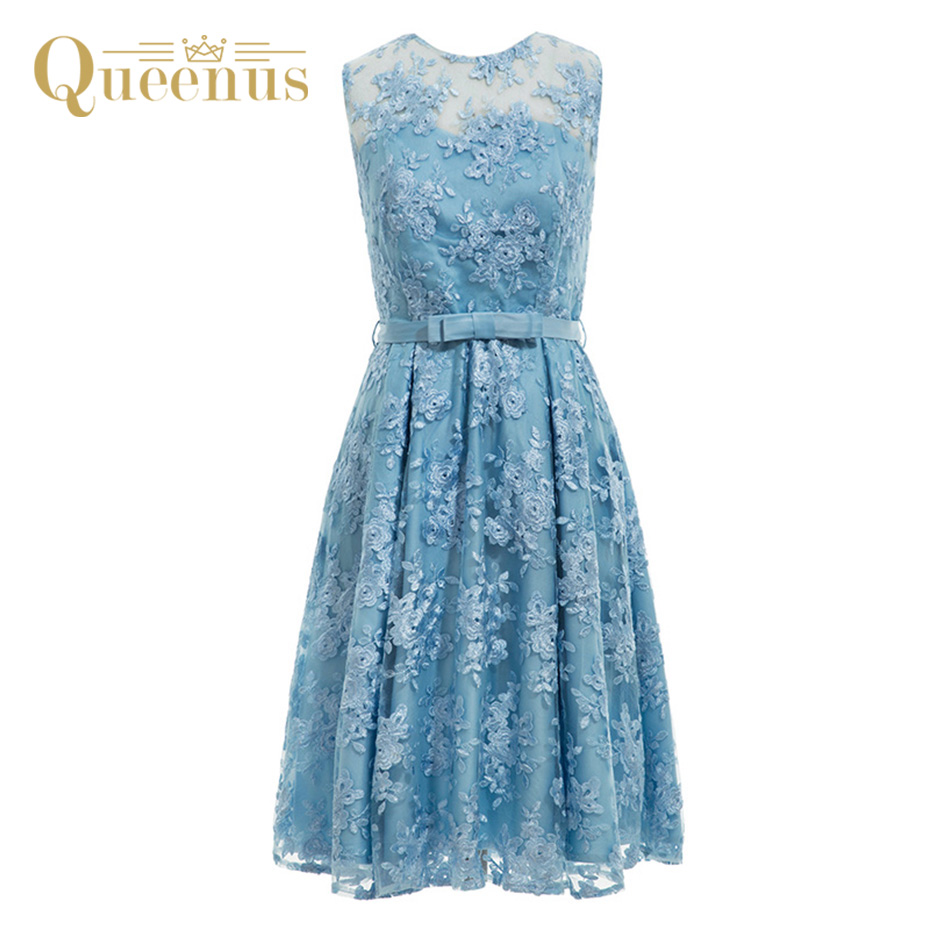 Queenus 2017 Women A Line Lace Dress Knee Length Belted Backless See Through Party Dress Lovely Blue Women Vintage Dresses -in Dresses from Women\'s ...